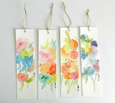 Watercolor Flower Bookmarks: growcreative