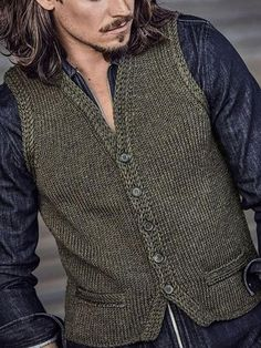 Simple Slim Single-Breasted Knitted Vest - Knitting New Vest Coat, Suit Vest, Sweater Fashion, Men Sweater, Latest Fashion Clothes, Fashion Outfits, Viking Knit, Retro Dress, Single Breasted