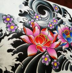59 Ideas Tattoo Ideas Flower Tat For 2019 Japanese Tattoo Art, Japanese Tattoo Designs, Japanese Sleeve Tattoos, Flower Tattoo Designs, Japanese Flower Tattoos, Blue Flower Tattoos, Red Tattoos, Body Art Tattoos, Tattoo Flowers