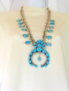 Sterling and Turquoise Massive Squash Blossom Necklace from Antiques Du Jour on Ruby Lane