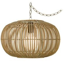 "Rattan Round 19 1/2"" Wide Antique Brass Plug-In Chandelier - #Y3902-3K167 
