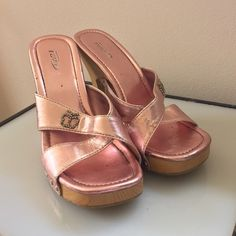 RAVE PINK SLIDES RAVE pink bling high heel open this slides. Worn but still in good condition! Rave Shoes Mules & Clogs