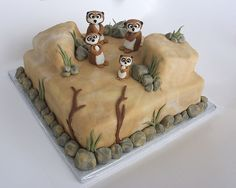 Who doesn't love a meerkat? Dad Birthday Cakes, Birthday Cupcakes, 1st Birthday Parties, Twins 1st Birthdays, Animal Cakes, Animal Party, Cupcake Cookies, Themed Cakes, How To Make Cake