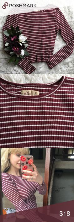 Ribbed Stripe Crop So effortlessly cute! Love the ribbed texture and the fit. Says size medium but this def fits like a small. Great condition! Make offers, need this gone! Hollister Tops Tees - Long Sleeve