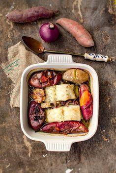 Bacalhau confitado em azeite com batata doce a murro