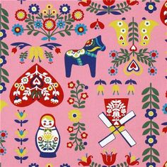 pink Holland Matryoshka Kokka oxford fabric from Japan