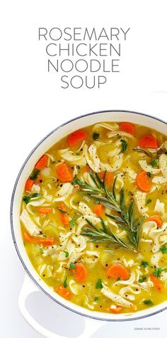 Rosemary Chicken Noodle Soup -- quick and easy to make, and oh-so-comforting | http://gimmesomeoven.com