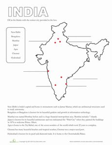 Map of India | Worksheet | Education.com
