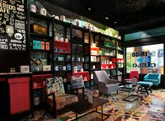 Black shelves on pinterest - Modern coffee shop interior ...