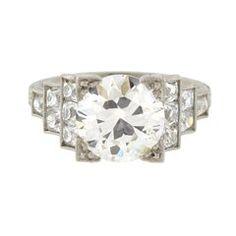 Contemporary 3.01 Carat Old European Diamond Engagement Ring