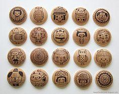 knobs wood burning art