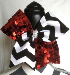 Black and white chevron cheer bow with red sequins  www.myspiritbows.com