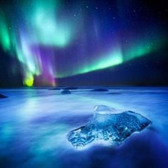 "Jokulsarlon in Iceland. ""Diamond Beach Aurora"" by Snorri Gunnarsson on 500px by johanna"