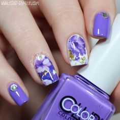 Purple Floral Water Decal Nails   Born Pretty Store Review   NailsByErin