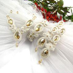 White gold Wedding Jewelry set fo brides. Swarovski soutache