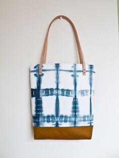 Shibori Tote Bag Indigo Dye Canvas Shoulder Bag by 162PENS