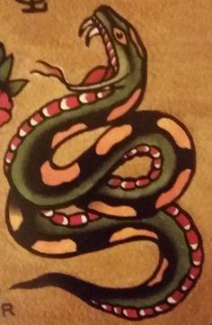 "Traditional/old school tattoo, Jeromey ""tilt"" McCulloch, snake"