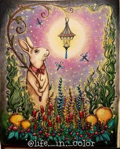 Bunny holding a lantern from daydreams adult coloring book by Hanna karlzon. Used prismacolors and PanPastels. Animal Coloring Pages, Colouring Pages, Adult Coloring Pages, Coloring Books, Markova, Bunny Art, Color Pencil Art, Fantasy, Daydream