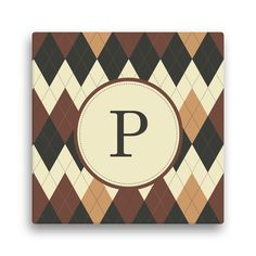 Argyle Personalized 12-inch x 12-inch Canvas (Initial A)