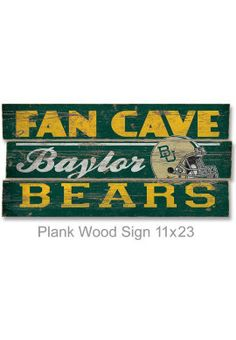 Product: Baylor University 'Bears Fan Cave' 22 x 11 Wood Sign