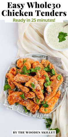 Easy Whole30 Chicken Tenders – my go-to, kid-friendly meal that is easy to make and always popular! This is an incredibly delicious weeknight dinner! Pop these guys in the oven and 25 minutes later dinner is one the table. I love dipping them in some Whole30 Ranch or compliant ketchup. Whole30 Dinner Recipes, Lunch Recipes, Breakfast Recipes, Whole 30 Lunch, Whole 30 Breakfast, Healthy Chicken Recipes, Pork Recipes, Healthy Meals, Le Diner