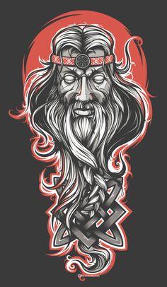 Extraordinary digital illustration of Svarog. Illustration Vector, Vector Art, Vector Design, Viking Power, Slavic Tattoo, Graffiti, Design Graphique, Illustrations And Posters, Amazing Art