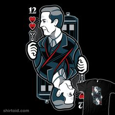 """""""12th of Hearts"""" by WinterArtwork. Playing card design of the Twelfth Doctor. [Part of WinterArtwork's Playing Card Collection. Previous designs include 8, 9, 10, 11, & Jack (Captain Jack Harkness)] [Sold at TeePublic]"""