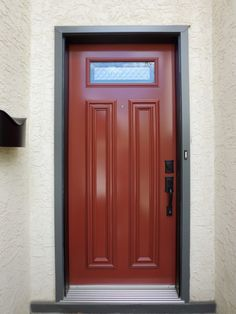 Belgrave glass insert by Verre Select, Venetian Red coloured single entry door.