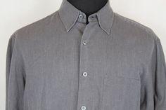 ERMENEGILDO ZEGNA Mens Long Sleeve Button Front Shirt sz L Large Gray #ErmenegildoZegna #ButtonFront