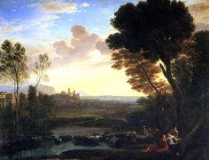 ЛОРРЕН,Claude Lorrain.Пейзаж с Парисом и Эноной,Шампань,1600-Рим,1682,Холст,118х150 см. Приобр. Людовиком XIV у герц.Ришелье в 1665.