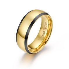 8MM Men's Tungsten Carbide Gold Plated Ring Polished Comfort Fit - Tungsten Rings