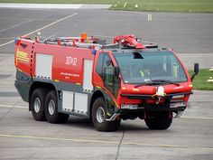 """A German Lentner """"Avenger"""" airport crash tender built on a Dutch space-frame Terberg 6×6 chassis at the Bydgoszcz Szwederowo Airport, Poland"""