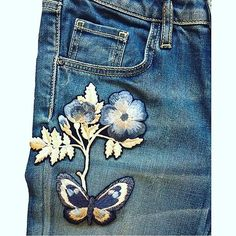 Sneak peek at a project we are working on for @onedenim . Launching very soon! #onedenim #denim #patches #embroidery #jennykingembroidery #butterfly #flower #freehandembroidery #madeinengland