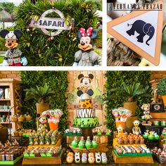 23 Clever DIY Christmas Decoration Ideas By Crafty Panda Safari Theme Birthday, Baby Boy 1st Birthday, Safari Party, Animal Birthday, Boy Birthday Parties, Fiesta Mickey Mouse, Mickey Party, Mickey Mouse Clubhouse, Mickey Mouse Birthday