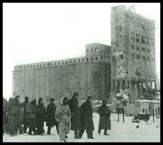 """Stalingrad after the battle, 1943. German POWs on their way to a preliminary collective point. They pass the hard-fought grain elevator.  """"An den immer wieder heiß umkämpften Getreidesilos werden deutsche Kriegsgefangene nach Süden getrieben."""""""