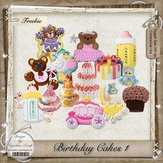 "Free scrapbook elements  ""Birthday cakes1 CU"" from Cajoline scrap"