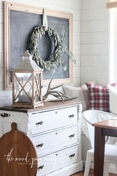 Breakfast Nook Plank Wall by The Wood Grain Cottage Country Decor, Rustic Decor, Cottage Design, House Design, Plank Walls, Interior Decorating, Interior Design, Farmhouse Chic, Dresser As Nightstand