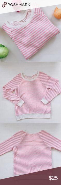 Victoria's Secret Striped Crewneck Sweatshirt Gently used, super comfy sleep sweatshirt from Victoria's Secret. Victoria's Secret Sweaters Crew & Scoop Necks