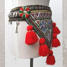Tribal Belly Dance Belt ATS Costume Belt with red tassels Belly Dance Belt, Tribal Belly Dance, Bead Jewellery, Jewelry, Belly Dance Costumes, Tribal Fusion, Tassels, Jeans, Handmade Gifts