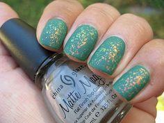 nubar 2010 flakies over OPI jade is the new black then add china glaze matte magic