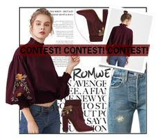 """""""ROMWE"""" by amilaaaas ❤ liked on Polyvore featuring Levi's and Aquazzura"""