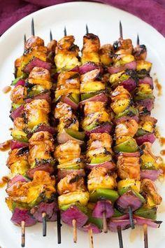 Hawaiian Chicken Kebabs Recipe Yummly Recipe Kabob Recipes Recipes Bbq Recipes