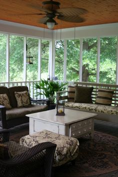 Southern Hospitality screened porch, Screened porch with swinging bed.  We use this porch year round.  Great for informal gatherings and even watching HGTV!, Porches Design