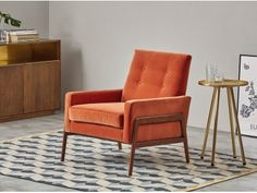 Cecil Armchair, Burnt Orange Cotton Velvet