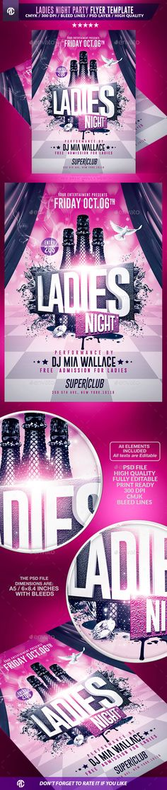 Ladies Night Party | Psd Flyer Templates — Photoshop PSD #easy #club • Available here → https://graphicriver.net/item/ladies-night-party-psd-flyer-templates/13176380?ref=pxcr