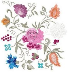 Flower composition machine embroidery design. Machine embroidery design. www.embroideres.com