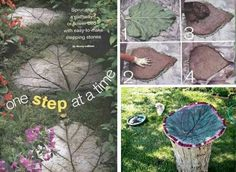 You have seen them at all the craft fairs and garden centers, huge leaf shaped birdbaths . Learn how to make rhubarb leaf stepping stones & birdbaths. Leaf Stepping Stones, Mosaic Rocks, Rock Mosaic, Concrete Leaves, Garden Steps, Garden Paths, Diy Craft Projects, Outdoor Projects, Craft Ideas