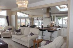 Pemberton Glendale Static Caravan Living Area..... love the layout for a small home and  the colour scheme