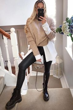 Warm Outfits, Casual Winter Outfits, Winter Fashion Outfits, Mode Outfits, Look Fashion, Mode Chic, Mode Inspiration, Ideias Fashion, Outfits With Skinny Jeans