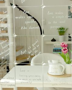 Love mirrors... using SÖRLI mirrors from IKEA & permanent silver marker to write on